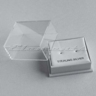 Plastic Clear Lid Stud Earrings Display Boxes With White Pads Middle Hole